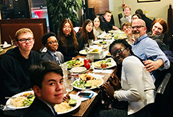 Breaking for dinner during the Johns Hopkins University Model UN Conference in February 2018.