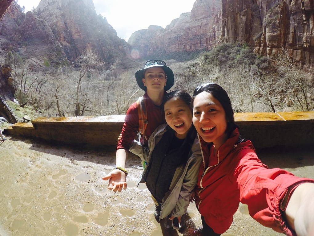 Phil H. '20, Krystal H. '17 and Jenny L. '16 snapped a selfie during a hike in Zion National Park.